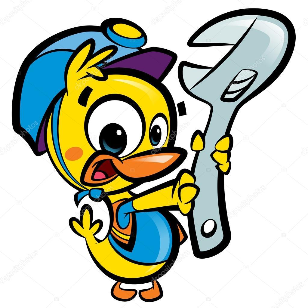 DIY Do it yourself cartoon baby duck plumber fixing ...
