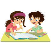 Boy and girl kids students studying doing their homework togethe — Stock Vector