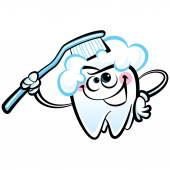 Happy cartoon white molar tooth character washing with dental to — Stock Vector