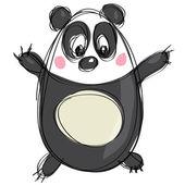 Cartoon black and white cute panda as naive children drawing — Stock Vector