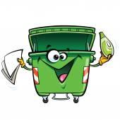 Happy smiling face cartoon green trash bin character with gabadg — Cтоковый вектор