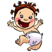Cartoon baby girl with diapers and funny hair jumping high — Stock Vector