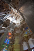"""BARCELONA, SPAIN, FEB 7, 2014 - Interior of  """"La Sagrada Familia"""", the cathedral designed by Gaudi, which is being build with the donations of people, on Feb 7, 2014 in Barcelona Spain — Stock Photo"""