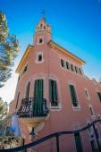BARCELONA, SPAIN - FEB 7, 2014: House of Antoni Gaudi and museum in the Park Guell on Feb 7, 2014 in Barcelona. The park is with other works of Gaudi part of the Unesco world heritage sites. — Stock Photo