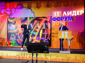 MOSCOW, RUSSIA - OCT 14, 2014: Kjell Nordstrom and Jonas Ridderstrale make speech at IT Leader conference on Oct 14, 2014 in Moscow, Russia. They are authors of bestseller book Funky Business Forever — Stock fotografie