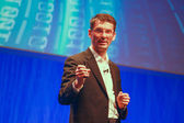 BERLIN, GERMANY - NOVEMBER 11, 2014: SAP member of the Executive Board Bernd Leukert delivers an address to SAP TechEd 2014 conference on November 11, 2014 in Berlin, Germany — Stock Photo