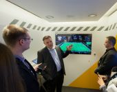 BERLIN, GERMANY - NOVEMBER 11, 2014: SAP Vice President Rolf Schumann talks how Big Data software helps German football team at SAP TechEd 2014 conference on November 11, 2014 in Berlin, Germany — Stock Photo