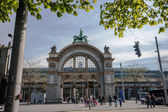 LUCERNE, SWITZERLAND - APRIL 20, 2014: Main entrance to Luzern railway station in Lucerne on April 20, 2014. Luzern is a famous tourist destination due to its location within sight of Swiss Alps — Stock Photo