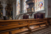 Interior of Roman Catholic parish St. Maurice church in Appenzell — Stock Photo