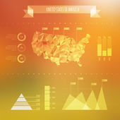 Abstract USA Map with Infographic Elements on Blurred Background — Stock Vector