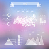 Abstract Russia Map with Infographic Elements on Blurred Backgro — Vector de stock