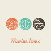 Anchor, Boat, Helm Marine Retro Icons — Stock Vector