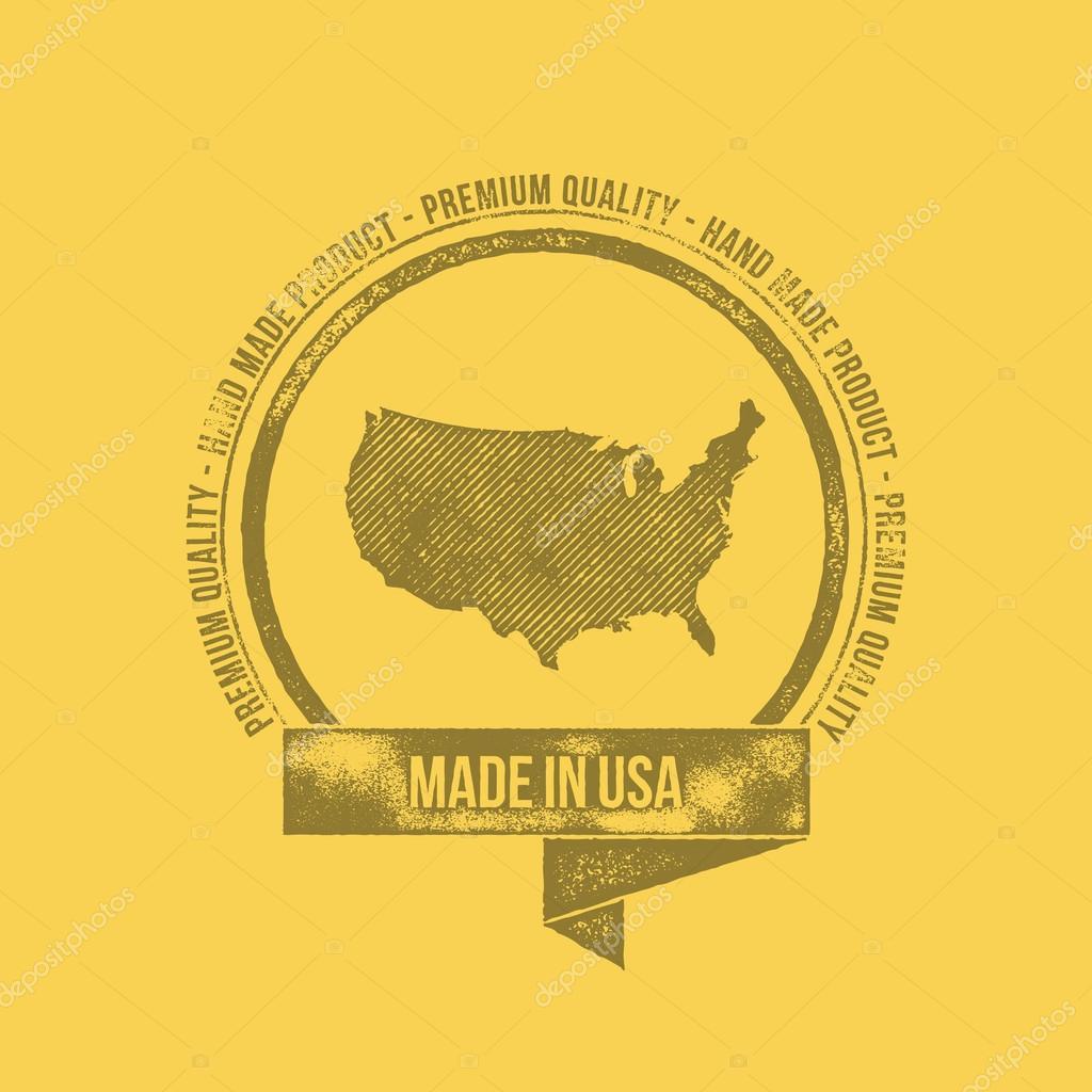 Shirt design usa - Made In Usa Retro Vintage Dirty Badge Label T Shirt Design Stock Vector