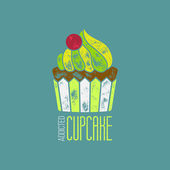 CupCake Addicted Vector T-Shirt Design — Stock Vector
