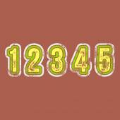 1 2 3 4 5 - Grunge Colorful Retro Numbers — Stock Vector