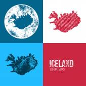 Iceland Grunge Retro Map — Stock Vector