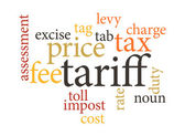 Term of tariff in word clouds. — Stock Vector