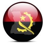 Постер, плакат: Illustration of Map on flag button of Republic of Angola