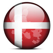 Map on flag button of Kingdom of Denmark — Stock Vector