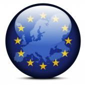 Map on flag button of Continent of Europe — 图库矢量图片