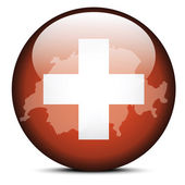 Map on flag button of Switzerland, Swiss Confederation — Vetor de Stock