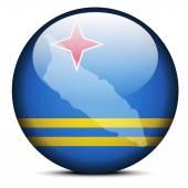 Map on flag button of Aruba — ストックベクタ
