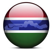 Map on flag button of Republic of The Gambia — Stock Vector