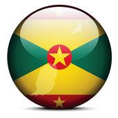 Landkarte auf Flagge Grenadas — Stockvektor