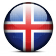 Map with Dot Pattern on flag button of Iceland — Stock vektor #66512227