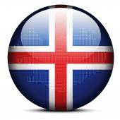 Map with Dot Pattern on flag button of Iceland — Stock Vector