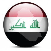 Map on flag button of Iraq — Stock Vector