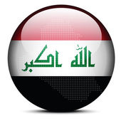Map with Dot Pattern on flag button of Iraq — Stock Vector