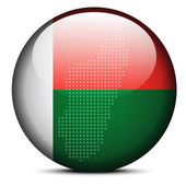 Map with Dot Pattern on flag button of  Madagascar — Wektor stockowy