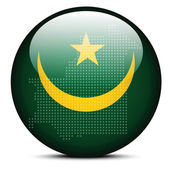 Map with Dot Pattern on flag button of  Mauritania — Stock Vector