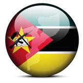 Map on flag button of Republic  Mozambique — Stock Vector