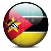 Map with Dot Pattern on flag button of Republic Mozambique — Stock Vector