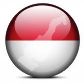 Map on flag button of Principality  Monaco — ストックベクタ