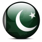 Map with Dot Pattern on flag button of Islamic Republic  Pakista — Stock Vector