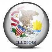 Map on flag button of USA Illinois State — Stock Vector