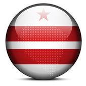 Mapa con el patrón de puntos en el botón de la bandera de Estados Unidos Washington Dc — Vector de stock