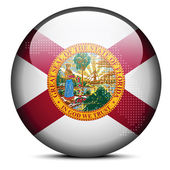 Map with Dot Pattern on flag button of USA Florida State — Stock Vector
