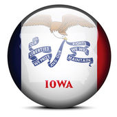 Map on flag button of USA Iowa State — Stock Vector