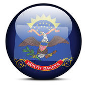 Map on flag button of USA North Dakota State — Stockvektor