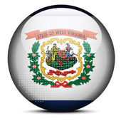 Map with Dot Pattern on flag button of USA West Virginia State — Stock Vector
