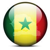 Map on flag button of Republic Senegal — Stockvektor