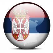 Map on flag button of Republic Serbia — Stockvektor