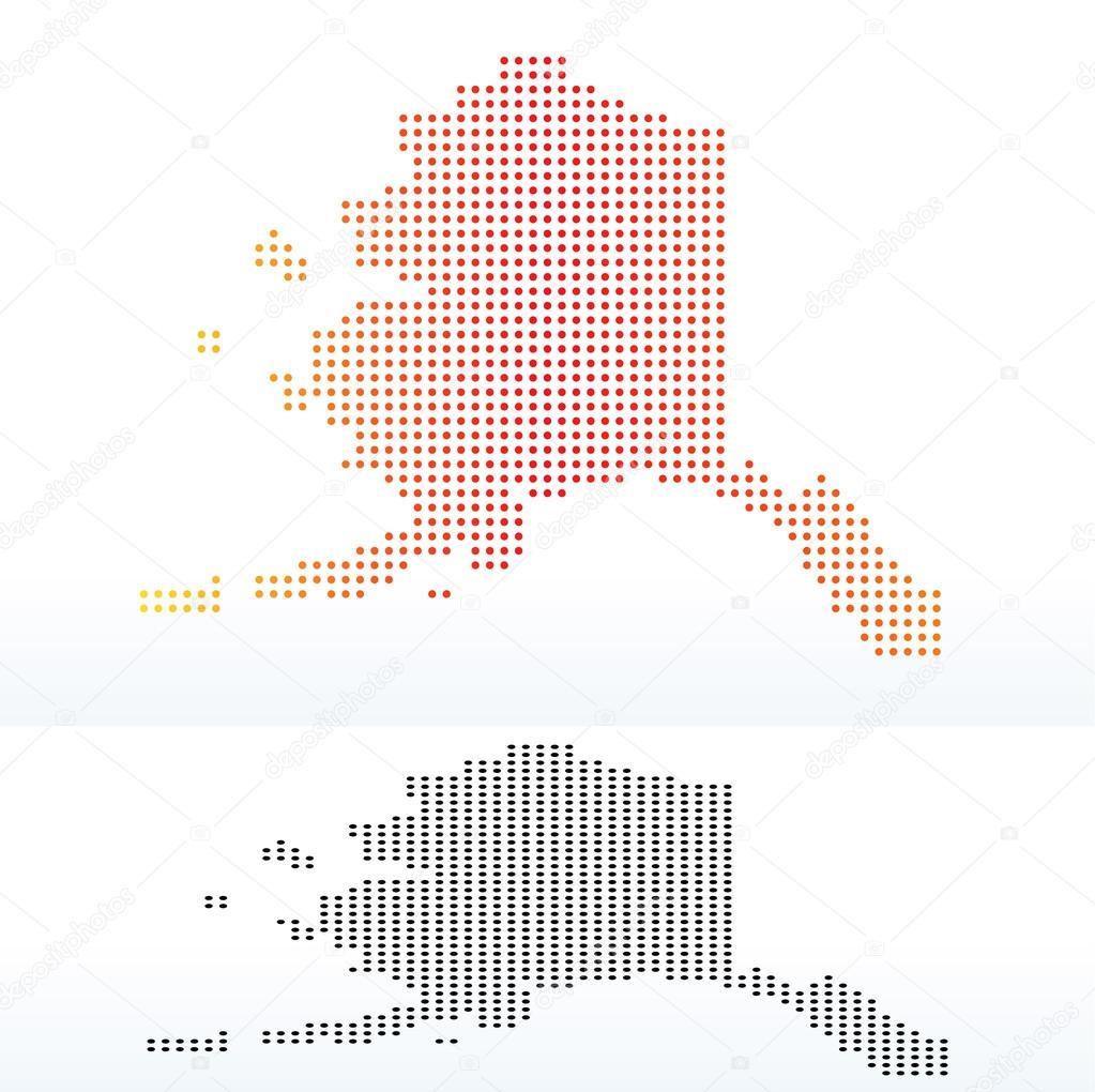 矢量图像-美国阿拉斯加州点图案地图– 图库插图