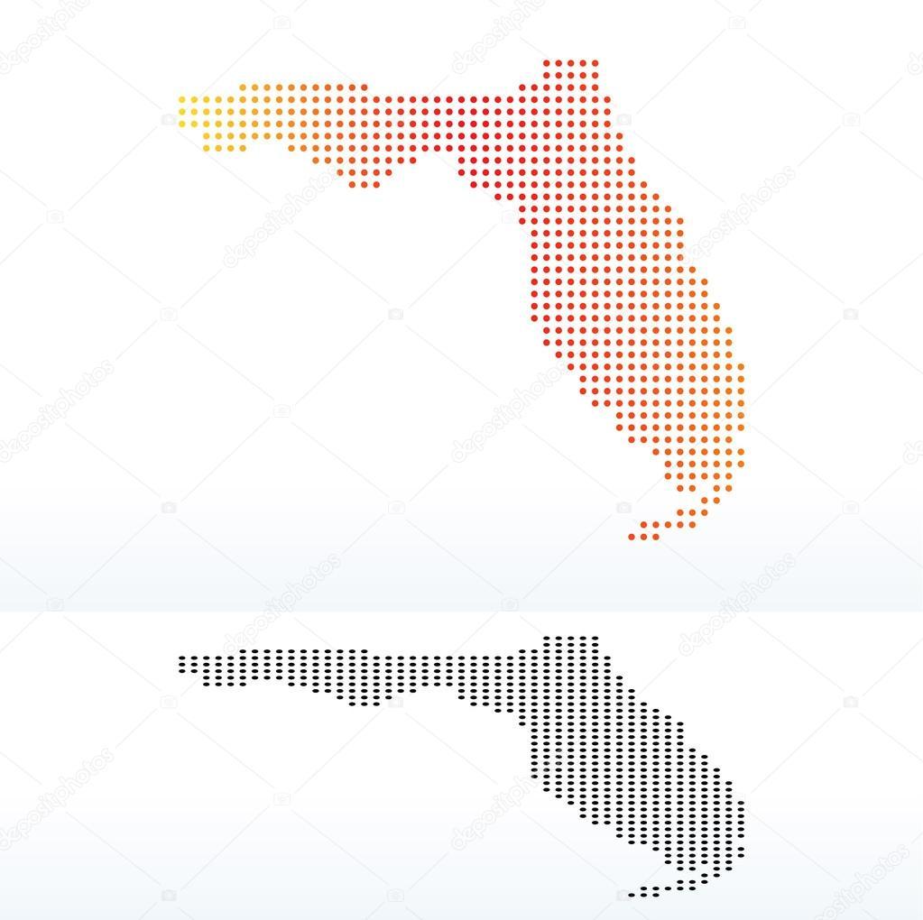 矢量图像-美国佛罗里达州点图案地图– 图库插图