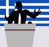 Ein Geschäftsmann, Politiker sprechen vor Publikum. — Stockvektor