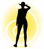 Toeristische vrouw silhouet met handtas en zonnebril — Stockvector